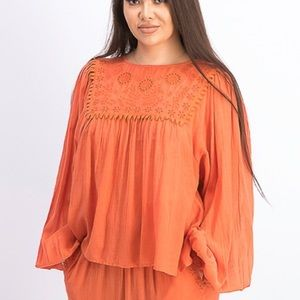 NWT Free People Valencia Embroidered Blouse Top